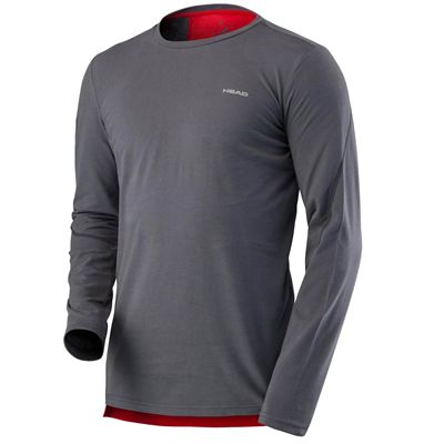Head Transition Mens Long Sleeve Top - Grey/Red
