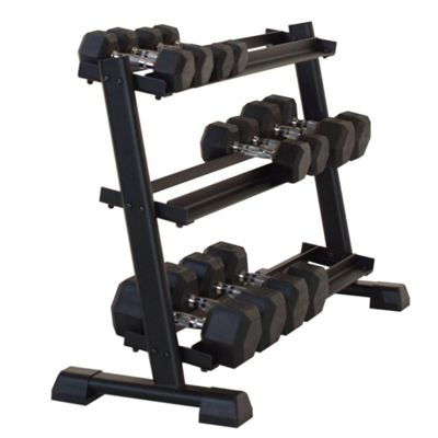 Inspire Fitness 3 Tier Dumbell Rack - In Use2