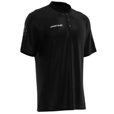Jartazi Roma Mens Button Polo Shirt - Black Angle