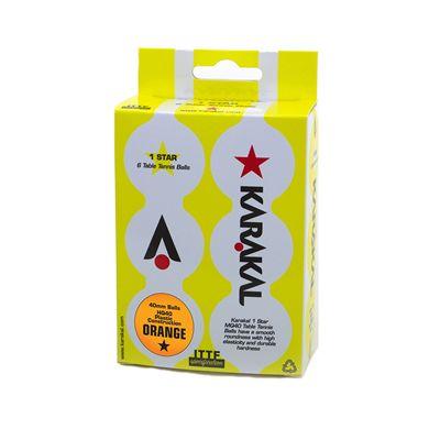 Karakal 1 Star Table Tennis Balls - Pack of 6 - Orange