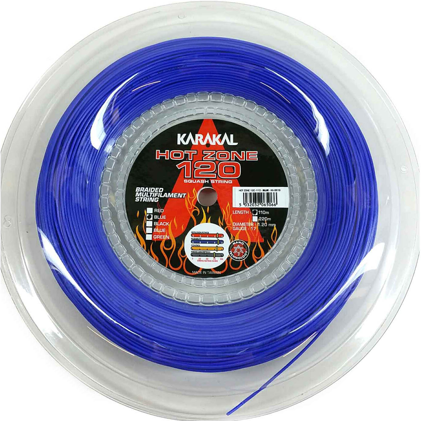 Karakal Hot Zone 120 Squash String - 110m Reel - Blue