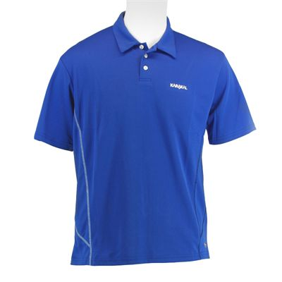Karakal Leon Button Polo Shirt-Blue-Front
