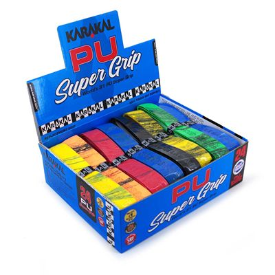 Karakal Multi Colour PU Super Replacement Grip (24 pack) Box Angle1