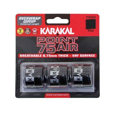 Karakal Point 75 Air Overwrap Grip - Pack of 3 - Black