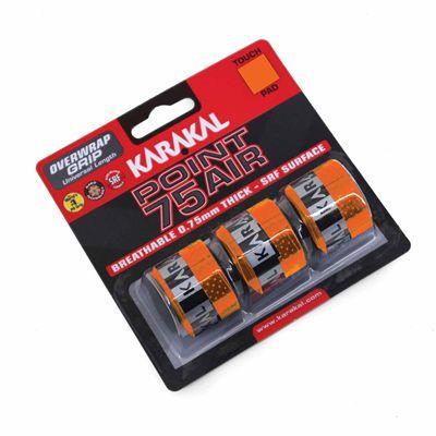 Karakal Point 75 Air Overwrap Grip - Pack of 3 -  Orange Angle