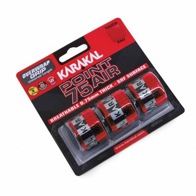Karakal Point 75 Air Overwrap Grip - Pack of 3 - Red Angle