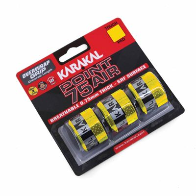 Karakal Point 75 Air Overwrap Grip - Pack of 3 -  Yellow Angle
