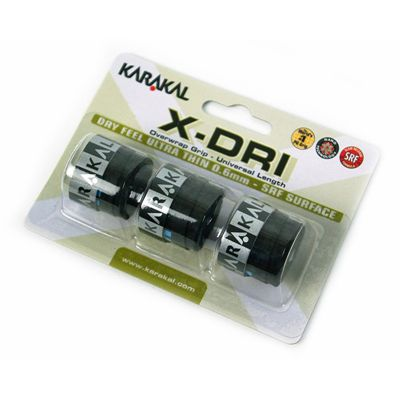 Karakal X-Dri Overwrap Grip-Black-Pack of 2