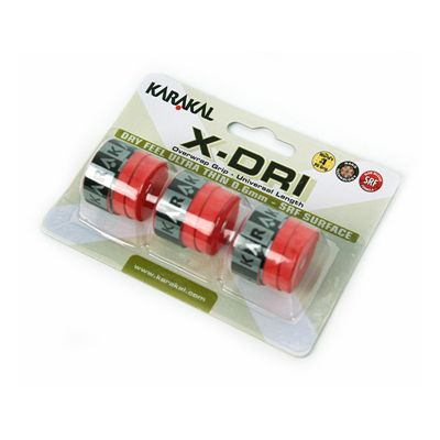 Karakal X-Dri Overwrap Grip-Red-Pack of 2