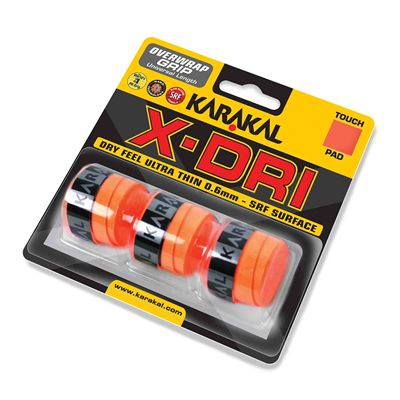 Karakal X-Dri Overwrap Grip - Pack of 3 - Orange - Angle