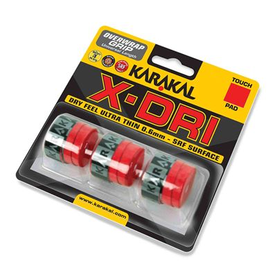 Karakal X-Dri Overwrap Grip - Pack of 3 - Red Angled