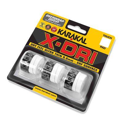Karakal X-Dri Overwrap Grip - Pack of 3 - White - Angle