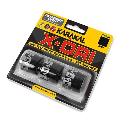 Karakal X-Dri Overwrap Grip - Pack of 3 - White - Black - Angle