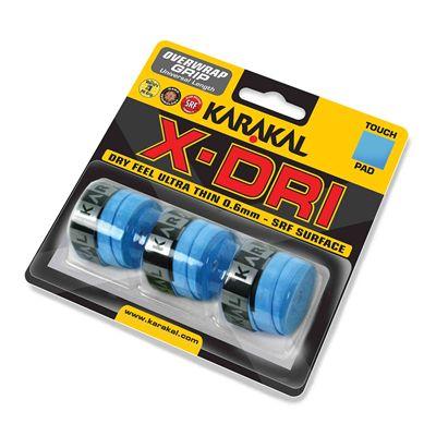 Karakal X-Dri Overwrap Grip - Pack of 3 - Blue - Angle