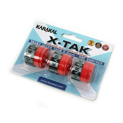 Karakal X-Tak Overwrap Grip-Red-Pack of 2