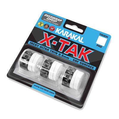 Karakal X-Tak Overwrap Grip - Pack of 3 - White Angle