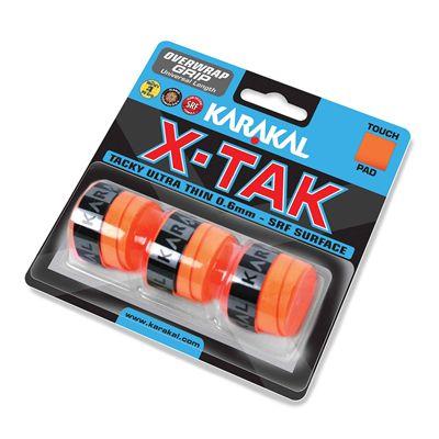 Karakal X-Tak Overwrap Grip - Pack of 3 - Orange Angle