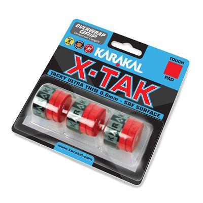 Karakal X-Tak Overwrap Grip - Pack of 3 - Red Angle