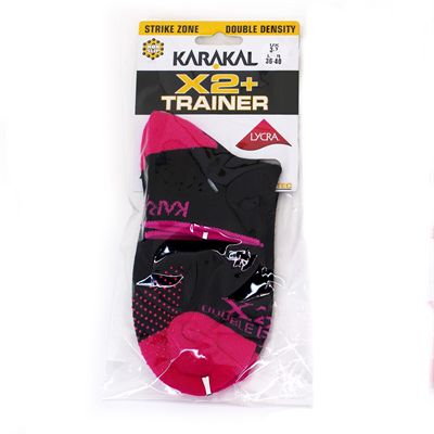 Karakal X2 Plus Ladies Trainer Socks - Pink/Black - Plastic Bag