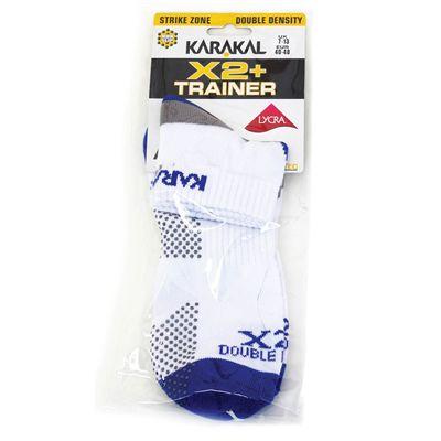Karakal X2 Plus Mens Ankle Socks - White Navy - Plastic Bag