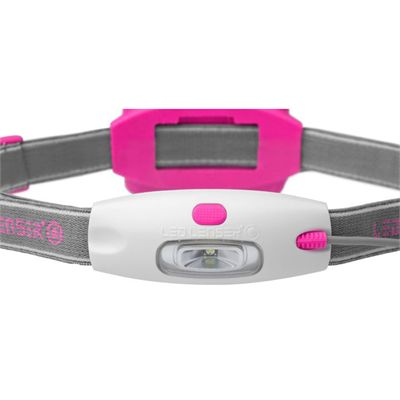 LED Lenser NEO Head Torch-Pink-Front View