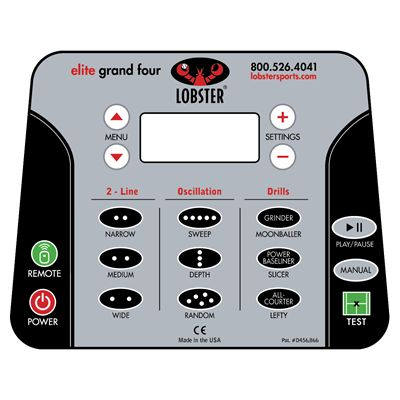 Lobster Elite Grand Slam 4 Tennis Ball Machine -  Control Panel
