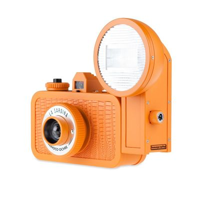 Lomography La Sardina Orinoco Ochre Camera with Flash Angle View