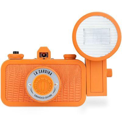 Lomography La Sardina Orinoco Ochre Camera with Flash Front View