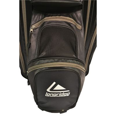 Longridge Executive Cart Bag-Black and Silver-Pockets