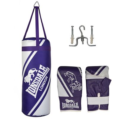 Lonsdale Club Junior Punch Bag and Glove Set - Purple