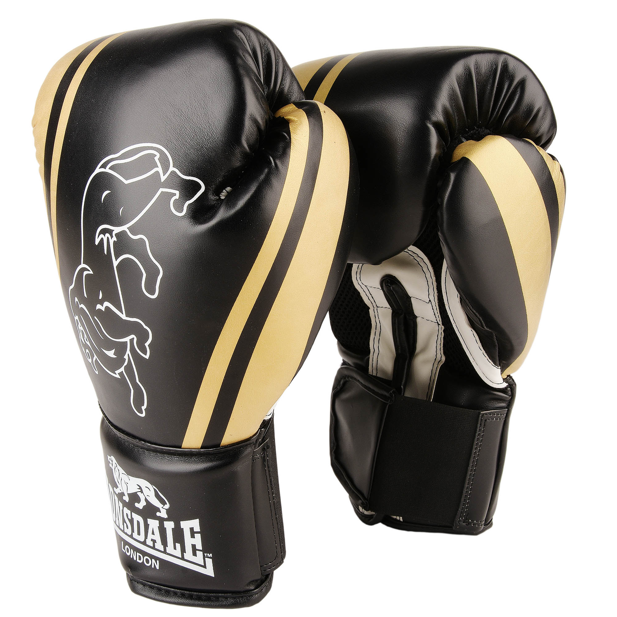 Lonsdale Club Training Gloves - Black/Gold, 10oz
