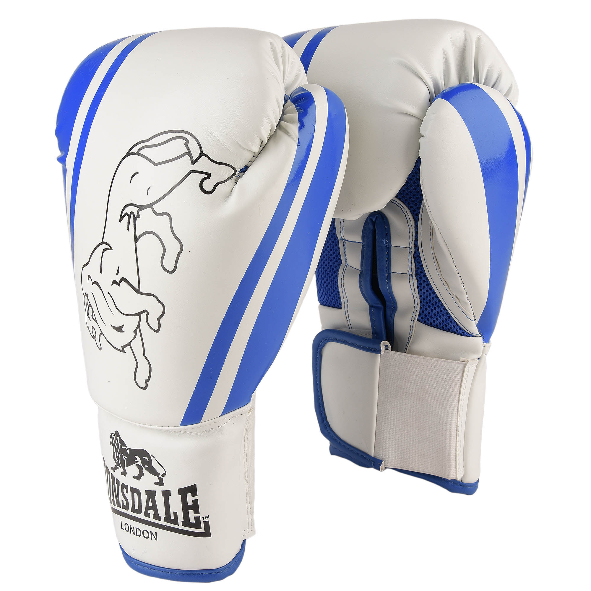 Lonsdale Club Training Gloves - White/Blue, 12oz