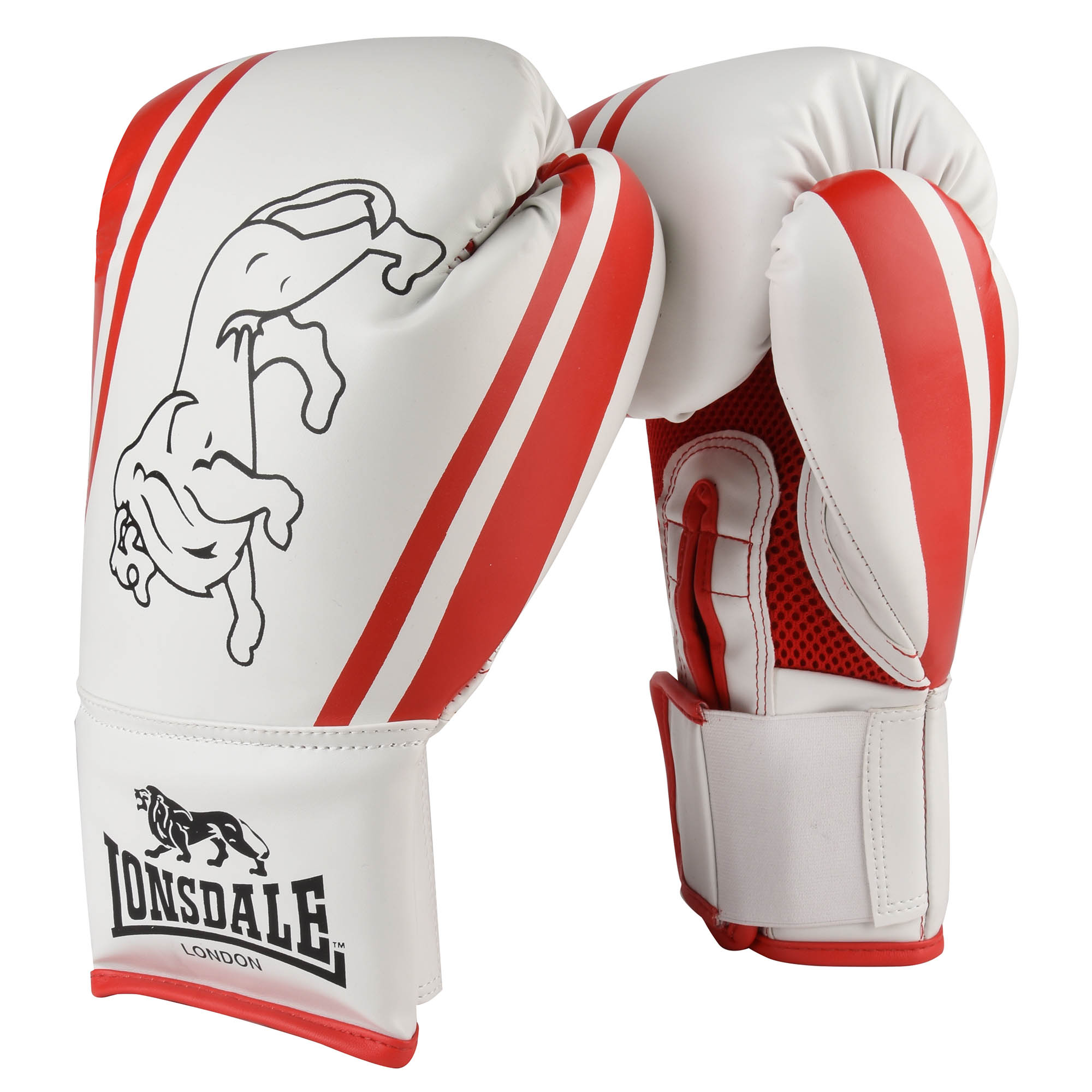 Lonsdale Club Training Gloves - White/Red, 10oz