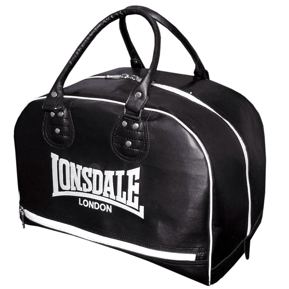 Lonsdale Cruiser Leather Style Holdall  Black