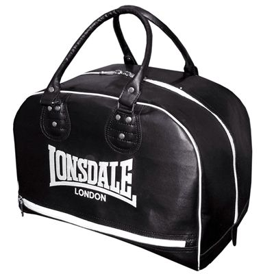 Lonsdale Cruiser Leather Style Holdall-Black