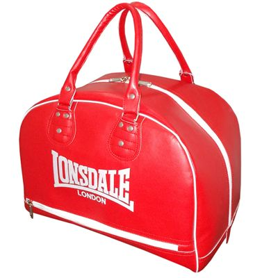 Lonsdale Cruiser Leather Style Holdall-Red