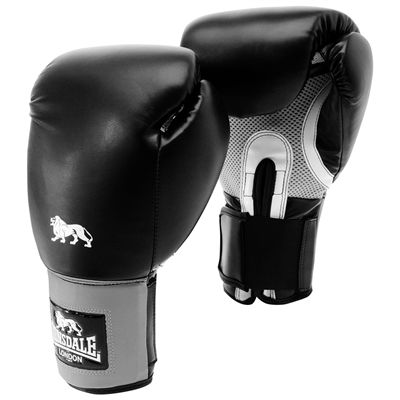 Lonsdale Jab Training Glove Hook and Loop-Black and Grey