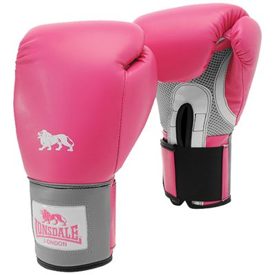 Lonsdale Jab Training Glove Hook and Loop-Pink and Grey