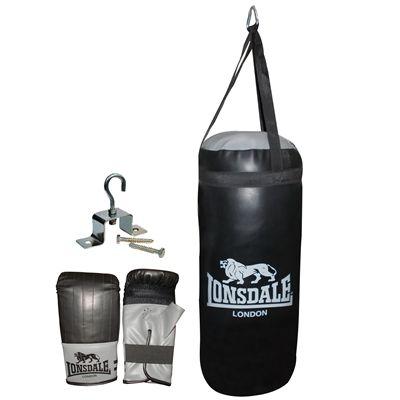 Lonsdale Jab Junior Punch Bag and Glove Set-Black and Grey