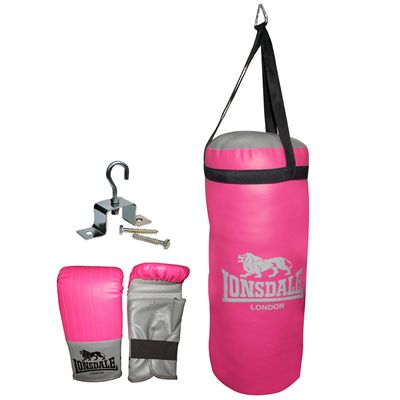 Lonsdale Jab Junior Punch Bag and Glove Set-Pink and Grey