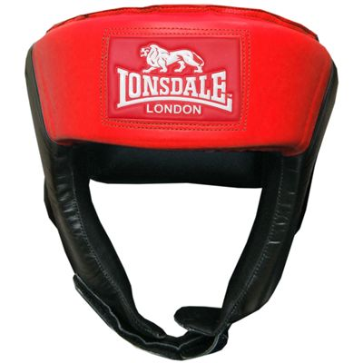 Lonsdale Jab Open Face Headguard-Black and Red