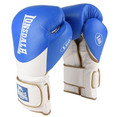 Lonsdale L60 Hook and Loop Leather Training Gloves - Blue