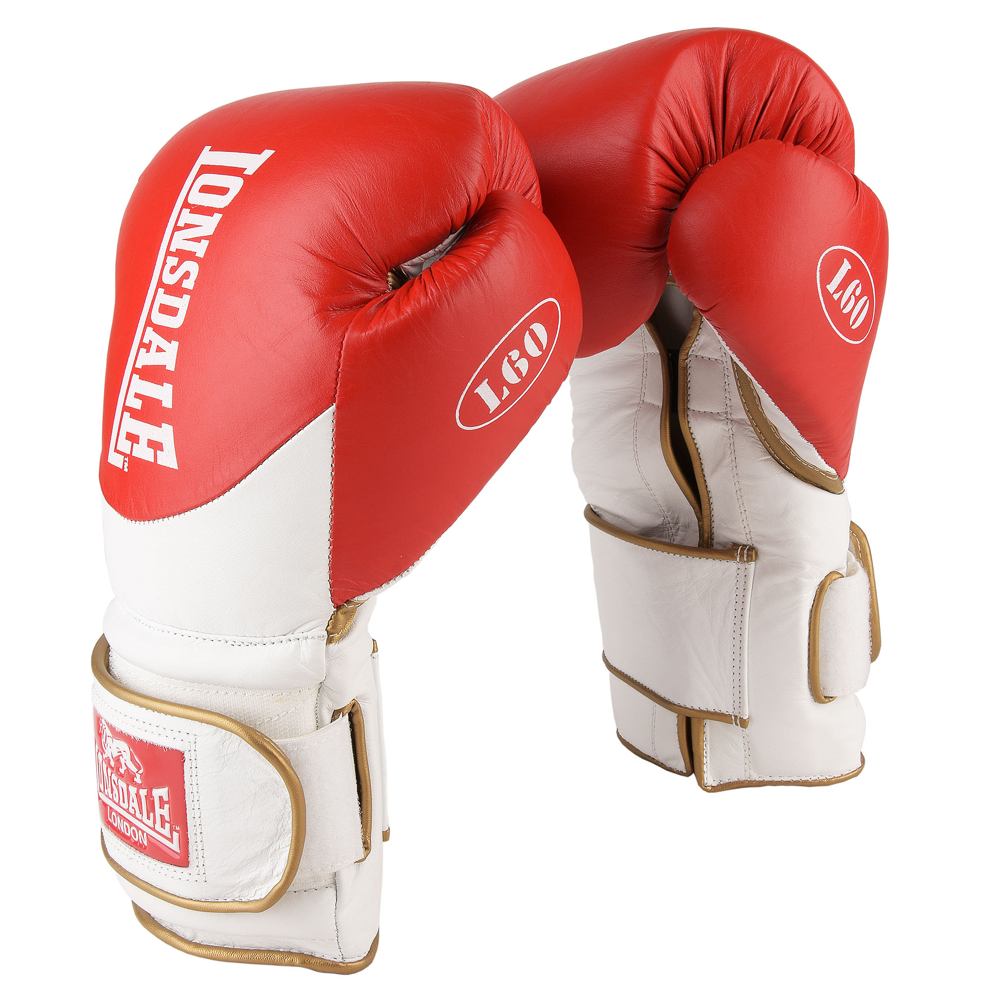 Lonsdale L60 Hook and Loop Leather Training Gloves - Red/White, 16oz