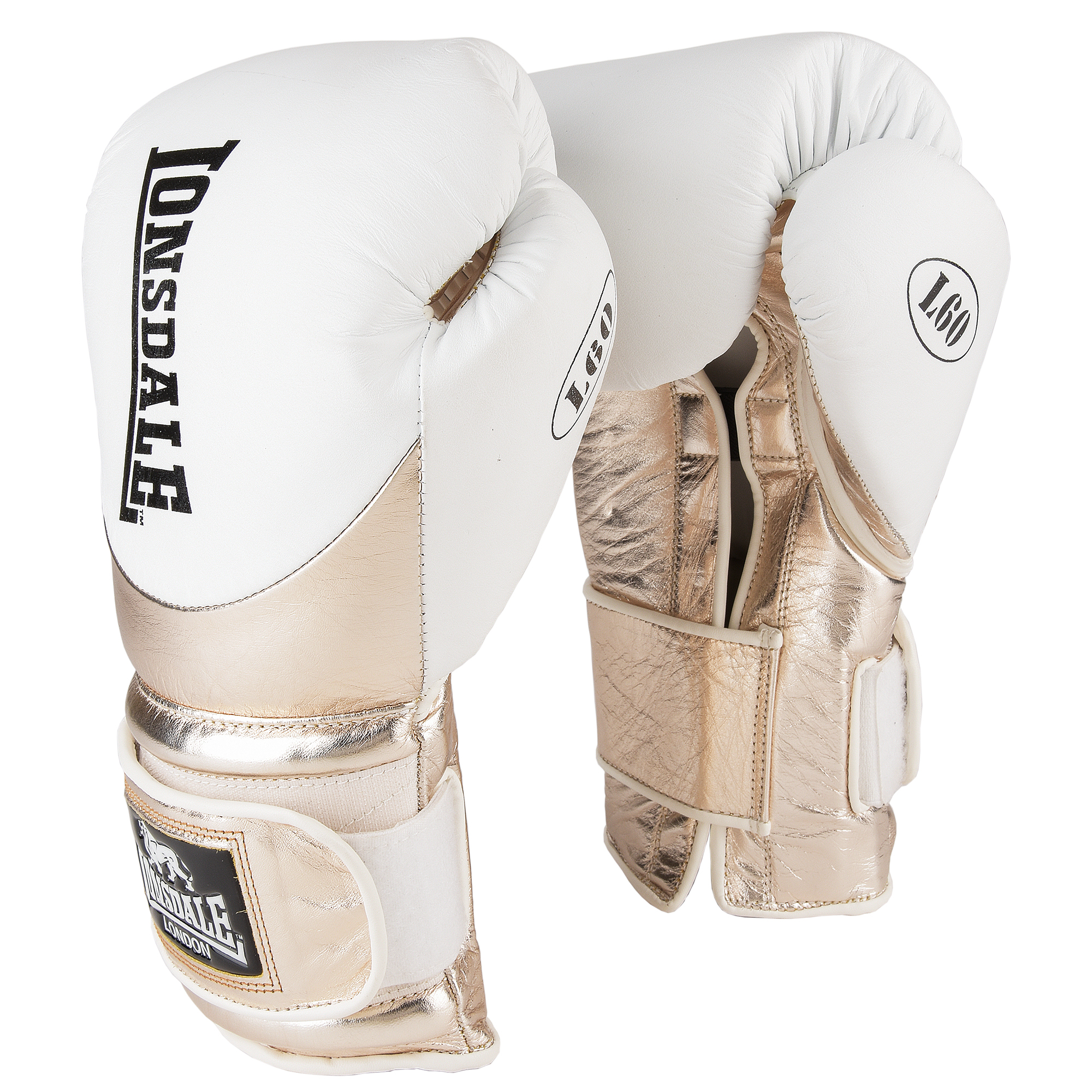 Lonsdale L60 Hook and Loop Leather Training Gloves - White/Gold, 16oz