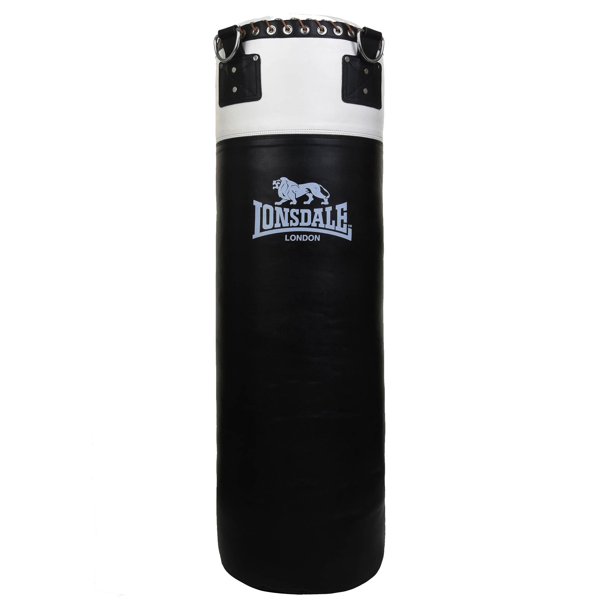 Lonsdale L60 3ft Leather Punch Bag – Black/White