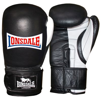 Lonsdale Pro Safe Spar Training Glove Hook and Loop-Black and White