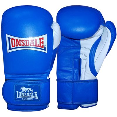 Lonsdale Pro Safe Spar Training Glove Hook and Loop-Blue and White