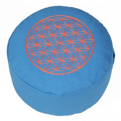 Lotus Design Basic Flower of Life Meditation Cushion - Turquoise and Orange