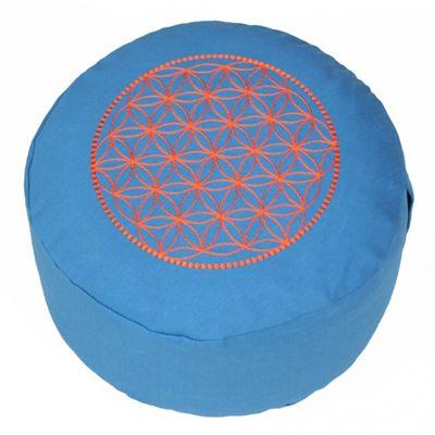 Lotus Design Basic Flower of Life Meditation Cushion - Turquoise and Orange