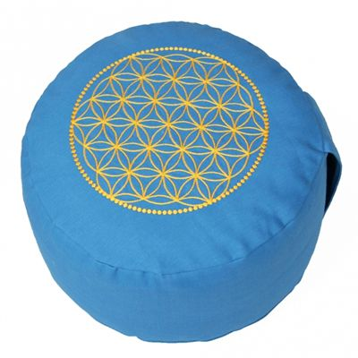 Lotus Design Basic Flower of Life Meditation Cushion - Turquoise and Yellow